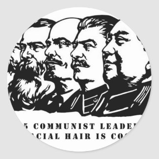 Communism facial hair classic round sticker