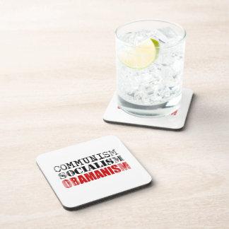 COMMUNISM SOCIALISM OBAMANISM Faded.png Beverage Coasters