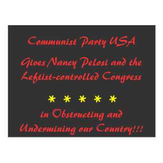Communist Party USA, Gives Nancy Pelosi and the... Postcard
