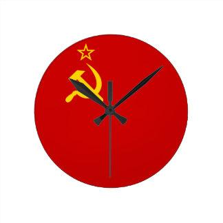 Communist Russia Flag USSR Round Clock