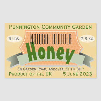 Community Garden Honey with Country of Origin Rectangle Sticker