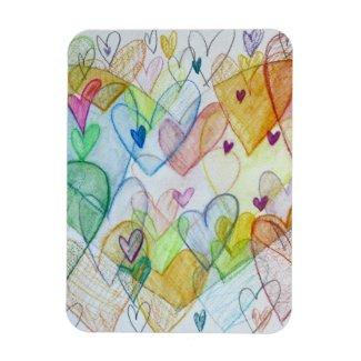Community Hearts Art Inspirational Fridge Magnet
