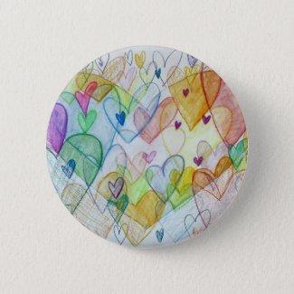 Community Hearts Art Pin or Button Pendant