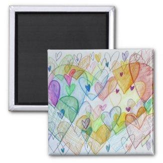 Community Hearts Art Rainbow Fridge Magnet