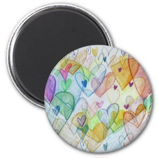 Community Hearts Art Rainbow Fridge Magnets