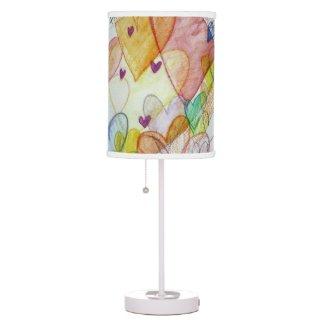 Community Hearts Color Art Custom Table Lamp