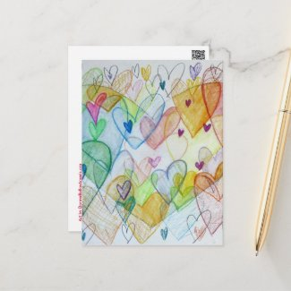 Community Hearts Color Custom Art Postcards
