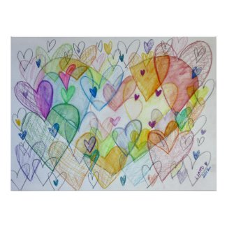 Community Hearts Color Painting Poster Art Prints