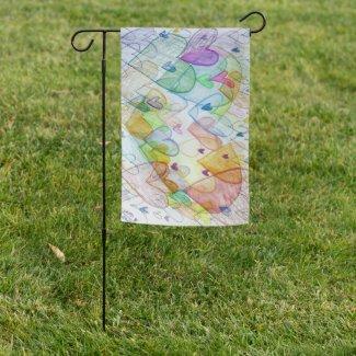 Community Hearts Rainbow Art Garden Flag