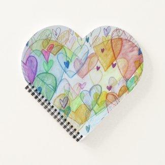 Community Hearts Rainbow Art Notebook or Journal