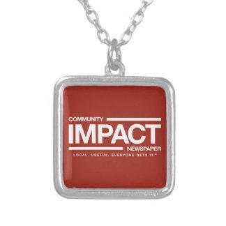 Community Impact Newspaper logo charm Square Pendant Necklace