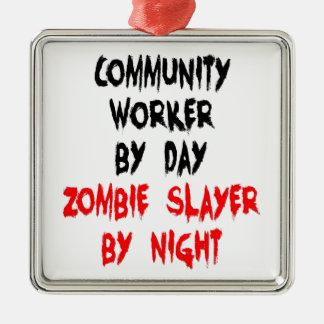 Community Worker Zombie Slayer Metal Ornament