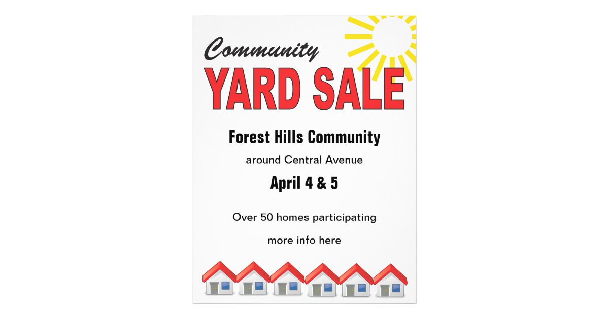 community yard sale custom text flyer