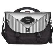 Commuter Laptop Bag Metal Look Black White