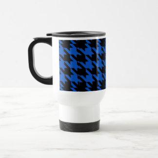 Commuter Mug Black & Blue Houndstooth Print