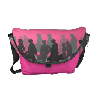 Commuter People on Hot Pink Courier Bags