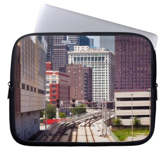 Commuter rail tracks lead into Downtown Chicago Laptop Sleeve