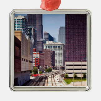 Commuter rail tracks lead into Downtown Chicago Metal Ornament