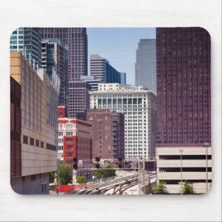 Commuter rail tracks lead into Downtown Chicago Mouse Pad