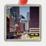 Commuter rail tracks lead into Downtown Chicago Square Metal Christmas Ornament