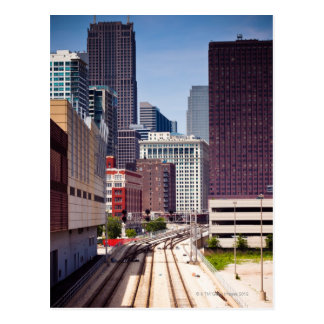 Commuter rail tracks lead into Downtown Chicago Post Card