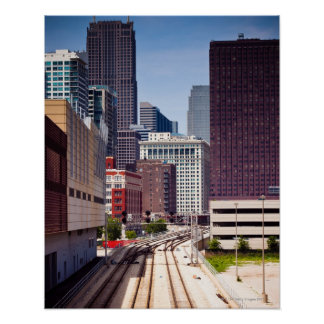Commuter rail tracks lead into Downtown Chicago Poster