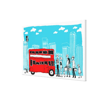 Commuters waiting at bus stop canvas print
