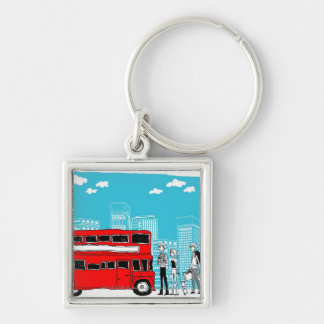 Commuters waiting at bus stop keychain