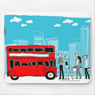 Commuters waiting at bus stop mouse pad
