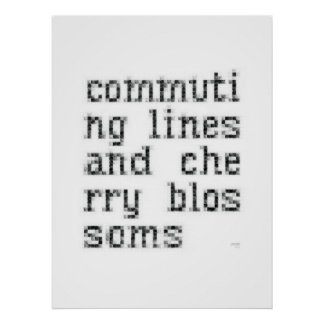 commuting lines and cherry blossoms poster
