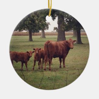 Cómo ahora vaca de Brown Adorno Navideño Redondo De Cerámica