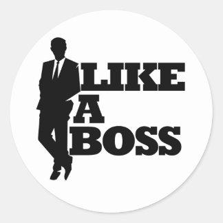 Como Boss Pegatina Redonda
