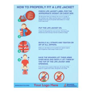 """Cómo caber un aviador del chaleco salvavidas - folleto 8.5"""" x 11"""""""
