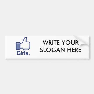 Como chicas etiqueta de parachoque