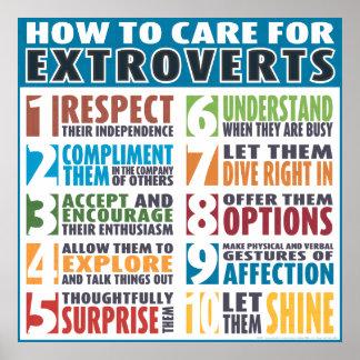 Cómo cuidar para los Extroverts (intrépidos) Póster