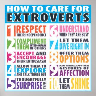 Cómo cuidar para los Extroverts Póster