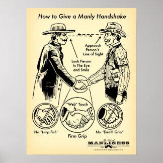 Cómo dar un poster de hombres del apretón de manos póster