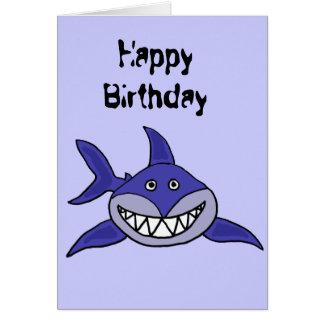 COMO dibujo animado de mueca hilarante del tiburón Tarjeta De Felicitación