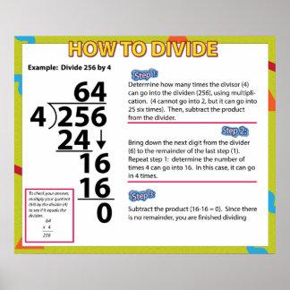 Cómo dividir el poster de la matemáticas