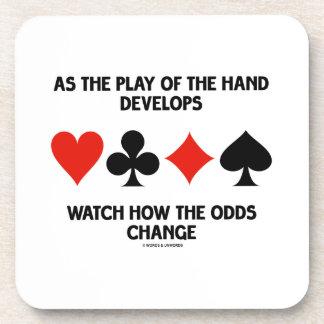 Como el juego de la mano desarrolla el reloj cómo posavasos de bebida