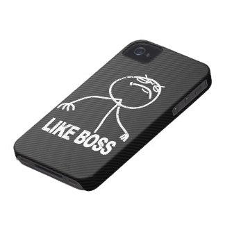 Como el meme de Boss en falsa fibra de carbono iPhone 4 Case-Mate Cárcasas