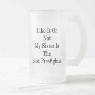 Como él o no mi hermana es el mejor bombero taza de café