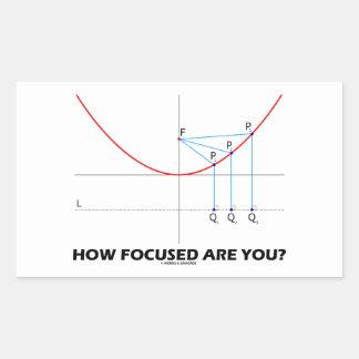 ¿Cómo enfocan le? (Gráfico de la parábola) Pegatina Rectangular