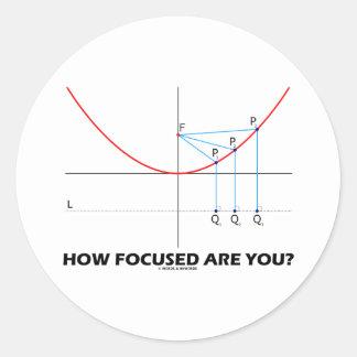 ¿Cómo enfocan le? (Gráfico de la parábola) Pegatina Redonda