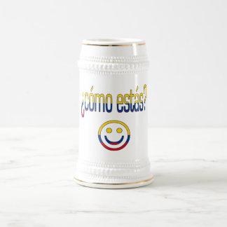 ¿Cómo Estás? Colombia Flag Colors 18 Oz Beer Stein