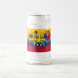 ¿Cómo Estás? Colombia Flag Colors Pop Art 18 Oz Beer Stein