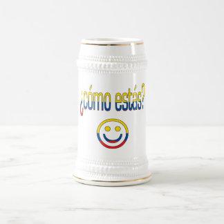 ¿Cómo Estás? Ecuador Flag Colors 18 Oz Beer Stein