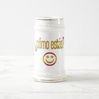¿Cómo Estás? Spain Flag Colors 18 Oz Beer Stein