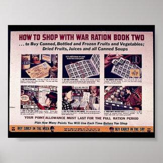Cómo hacer compras con el libro de ración de la póster