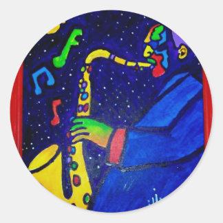 Como hombre del jazz por Piliero Pegatina Redonda